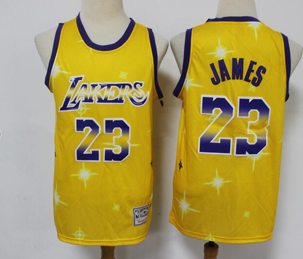 Men's Los Angeles Lakers #23 LeBron James Swingman Gold Classic Airbrush Stitched Jersey