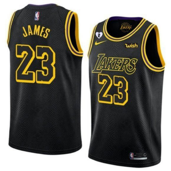 Men's Los Angeles Lakers #23 LeBron James With Gigi Patch Black Stitched Jersey
