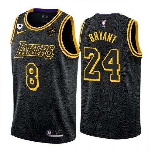 Men's Los Angeles Lakers Front #8 Back #24 Kobe Bryant With KB Patch &Gigi Patch Black Stitched Jersey
