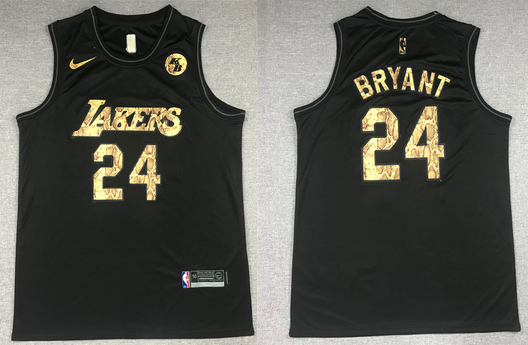Men's Los Angeles Lakers #24 Kobe Bryant Black Mamba Snake With Gold KB Patch And Number Stitched NBA Jersey
