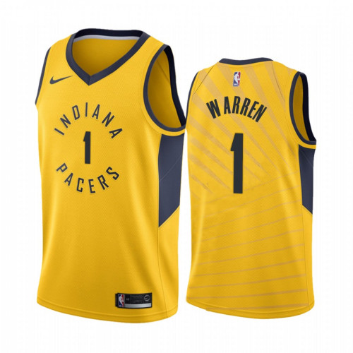 Men's Indiana Pacers #1 T.J. Warren Yellow Stitched Jersey