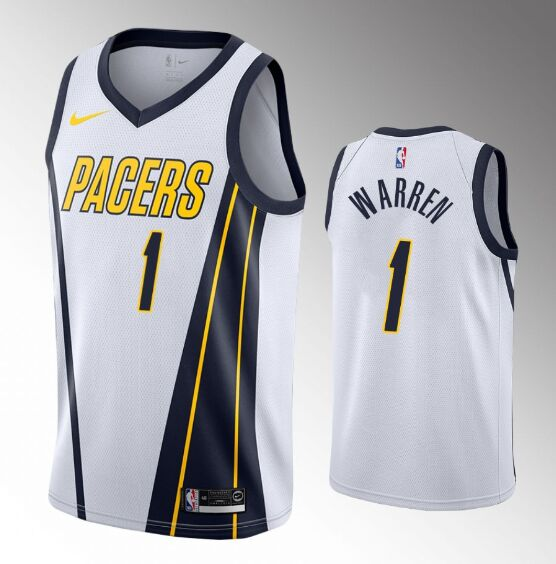 Men's Indiana Pacers #1 T.J. Warren White Stitched Jersey