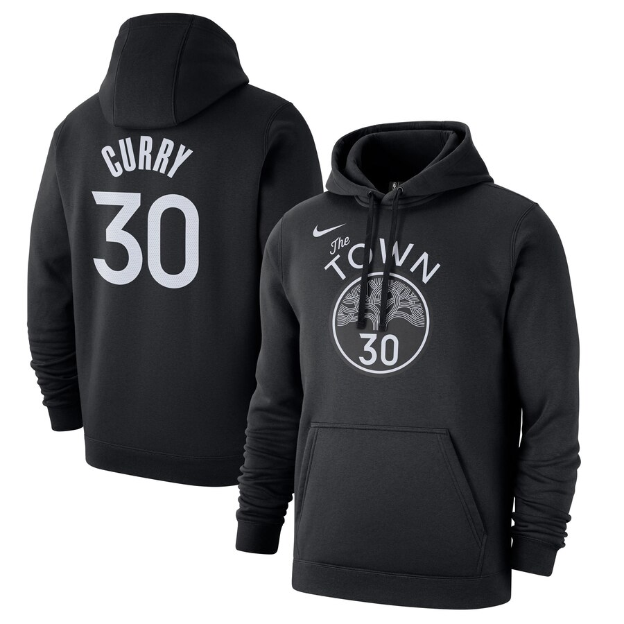 Men's Golden State Warriors #30 Stephen Curry Black City Edition Pullover Hoodie