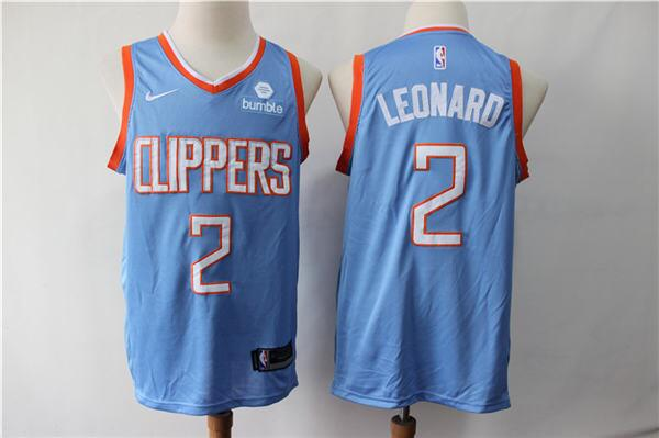 Men's Los Angeles Clippers #2 Kawhi Leonard Blue Stitched NBA Jersey