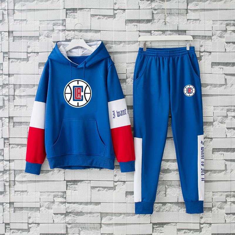 Men's Los Angeles Clippers 2019 Blue Tracksuits Hoodie Suit