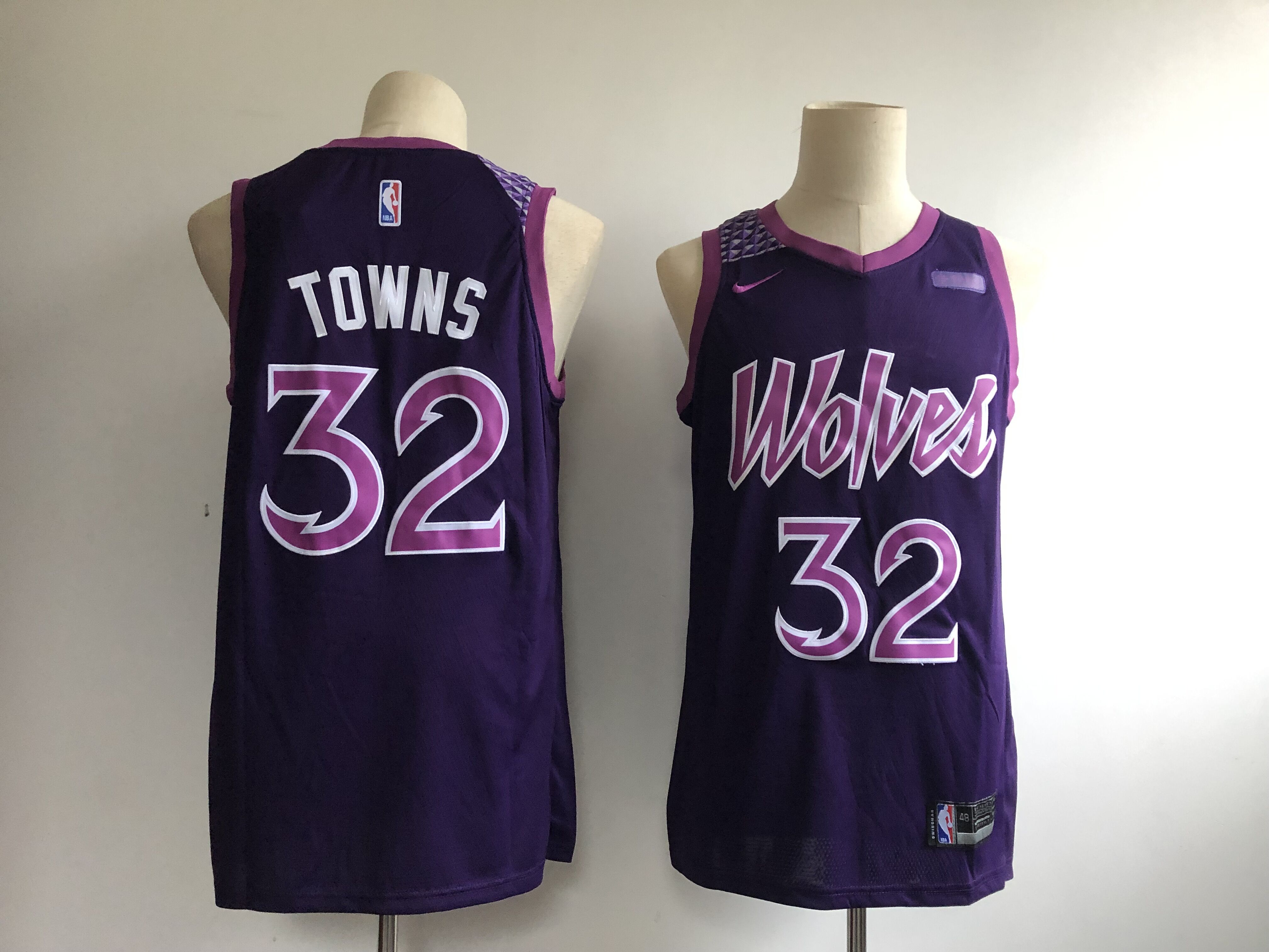 Men's Minnesota Timberwolves #32 Karl Anthony Towns Purple 2018/19 City Edition Swingman Stitched NBA Jersey