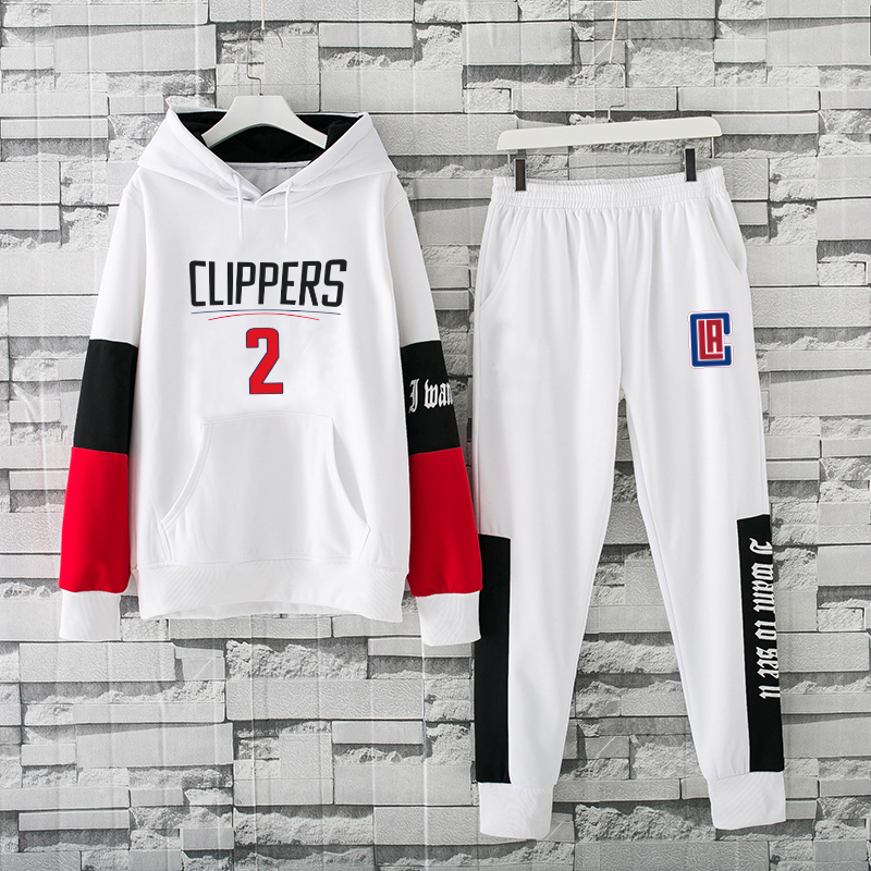 Men's Los Angeles Clippers 2019 White Tracksuits Hoodie Suit