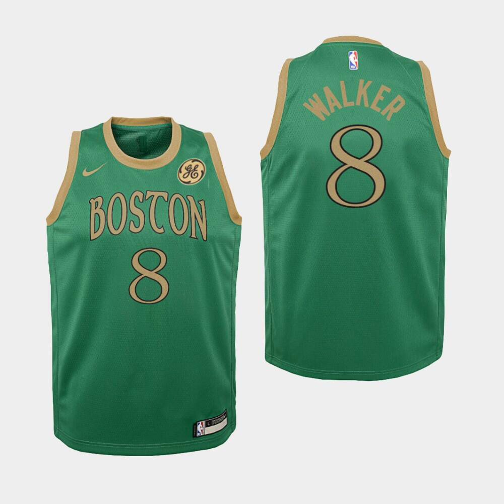 Men's Boston Celtics #8 Kemba Walker Green City Edition Swingman Stitched NBA Jersey