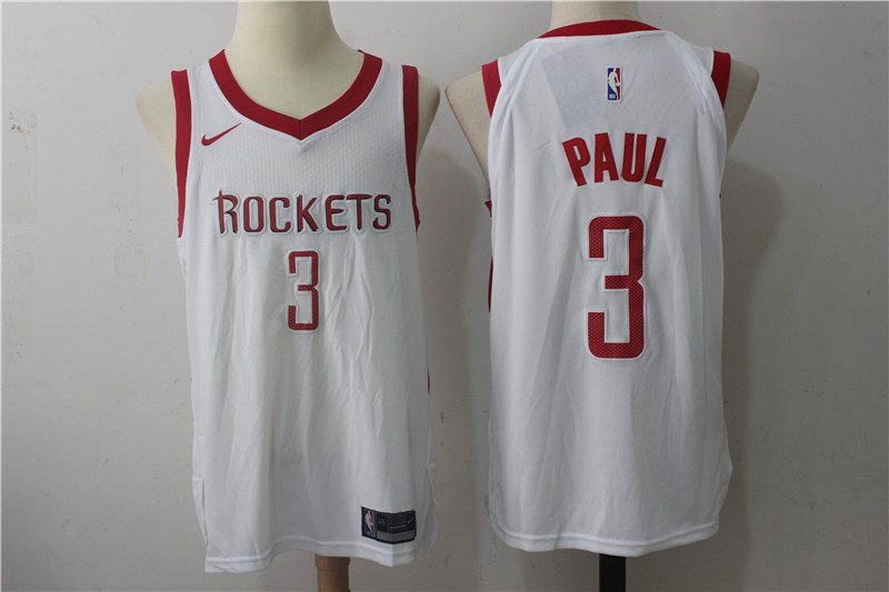 Men's Nike Houston Rockets #3 Chris Paul White Stitched NBA Jersey