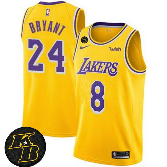Men's Los Angeles Lakers Front #8 Back #24 Kobe Bryant Yellow With KB Patch Stitched Jersey