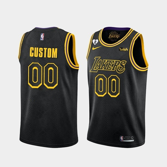 Men's Los Angeles Lakers Active Player Custom With Gigi Patch Black Stitched Jersey