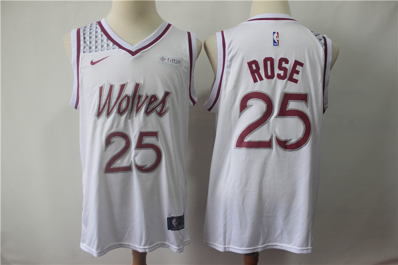 Men's Minnesota Timberwolves #25 Derrick Rose White 2018/19 Earned Edition Swingman Stitched NBA Jersey