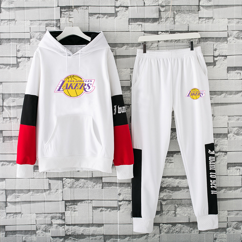 Men's Los Angeles Lakers 2019 White Tracksuits Hoodie Suit