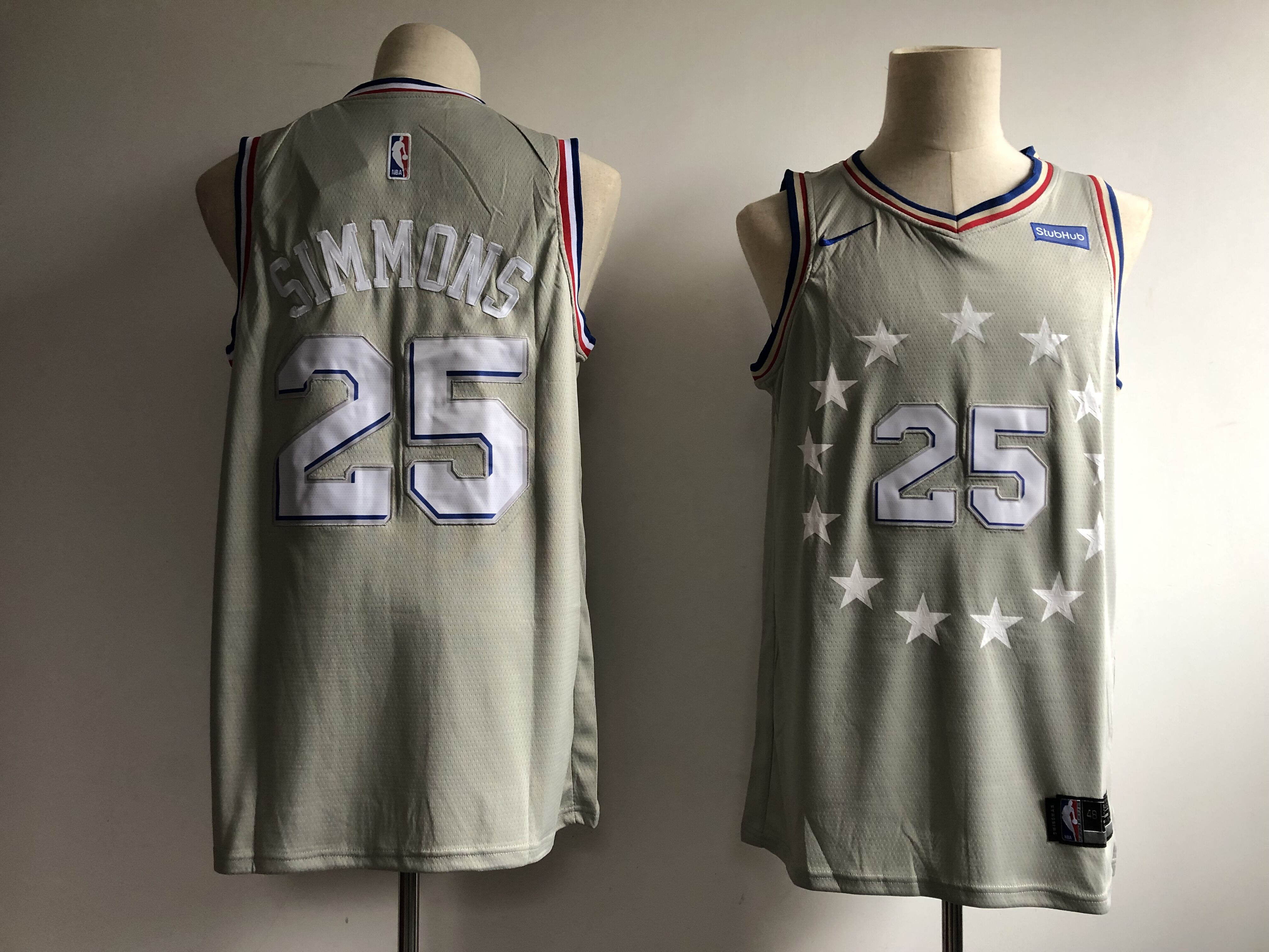 Men's Philadelphia 76ers #25 Ben Simmons Gray 2018/19 City Edition Swingman Stitched NBA Jersey