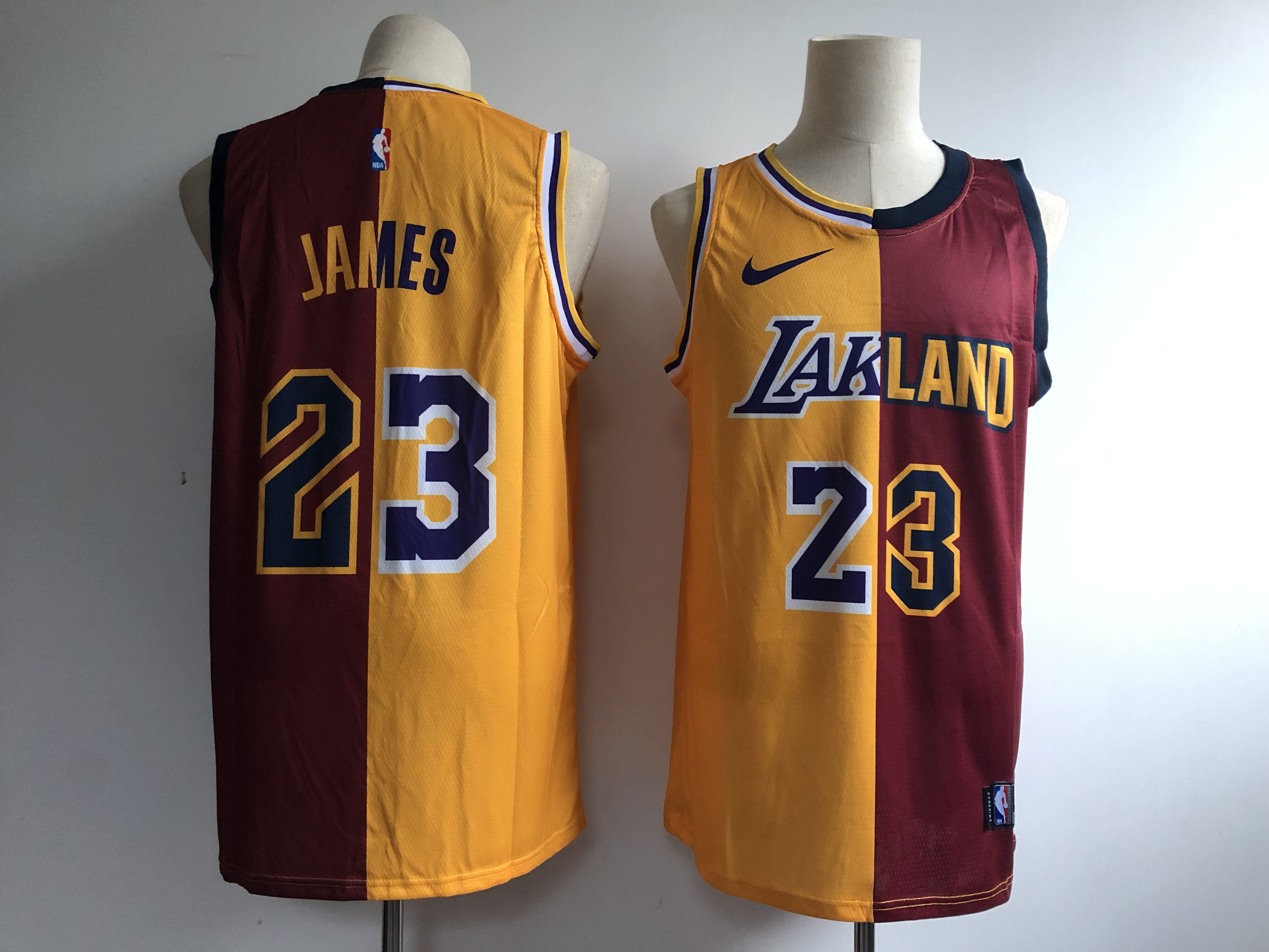 486fabef034 Men's Los Angeles Lakers #23 Lebron James Gold/Wine Fashion Swingman  Stitched NBA Jersey