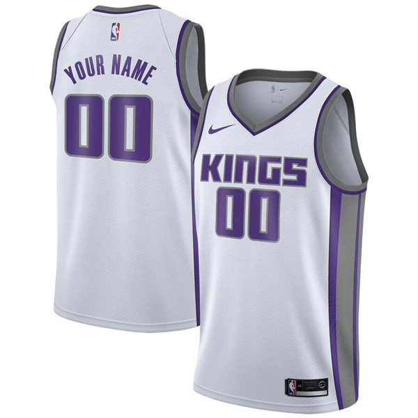 Men's Sacramento Kings Active Player White Custom Stitched NBA Jersey