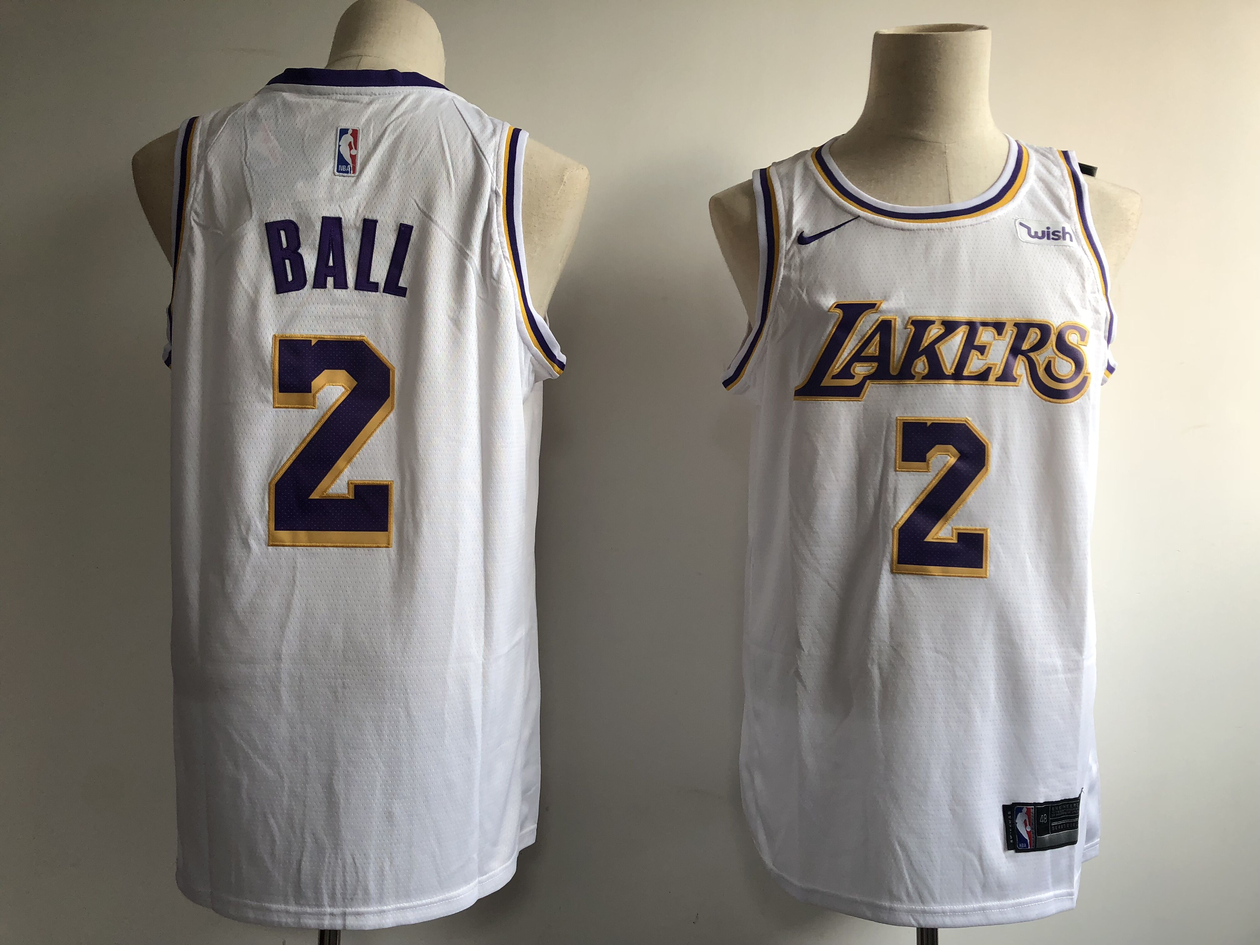Men's Los Angeles Lakers #2 Lonzo Ball New White Wish Stitched NBA Jersey