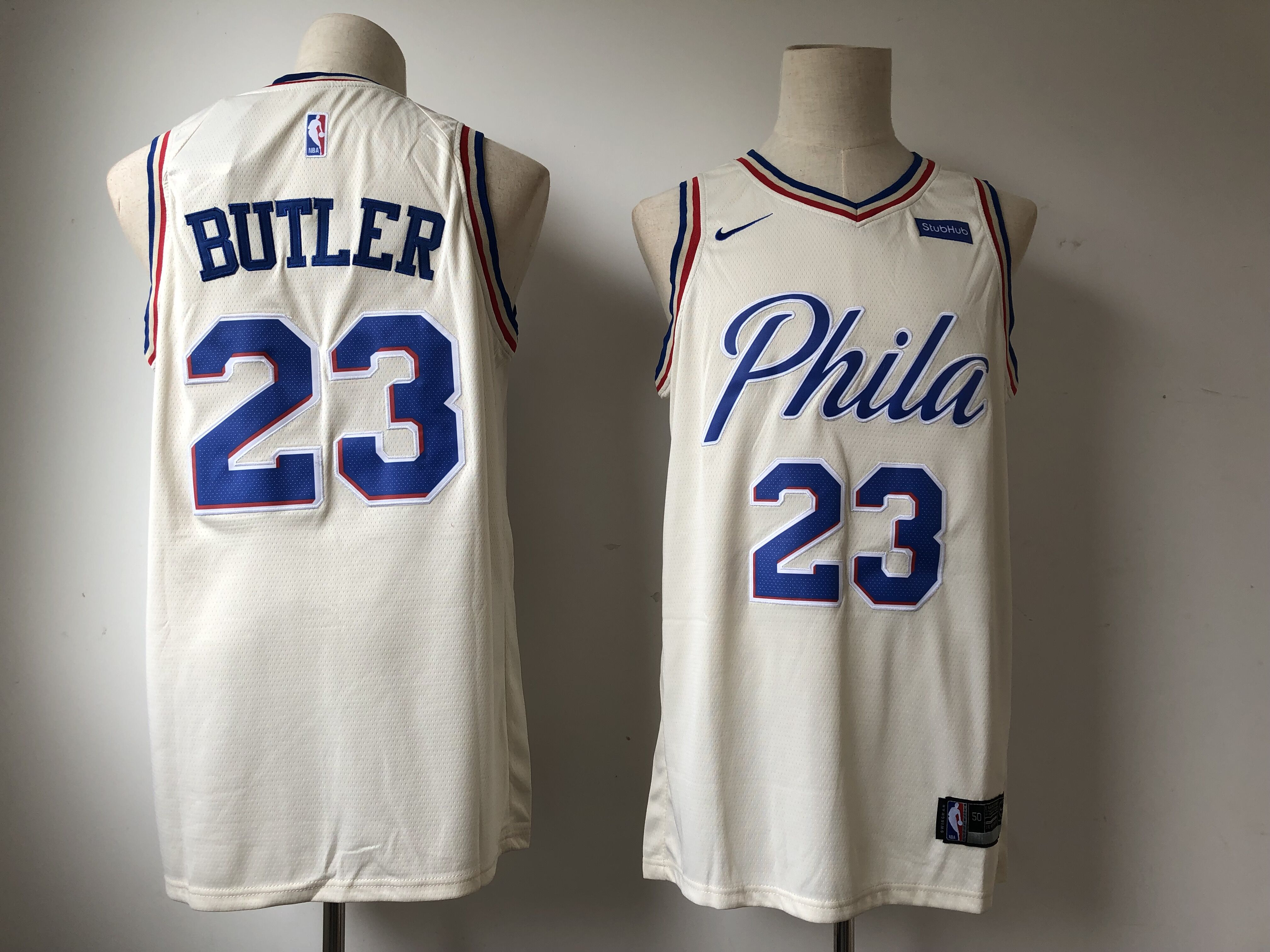 e0478218fe2 Men s Philadelphia 76ers  23 Jimmy Butler Cream 2018 19 City Edition  Swingman Stitched NBA