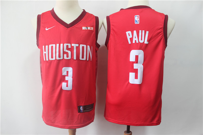 Men's Houston Rockets #3 Chris Paul Red 2018/19 Earned Edition Swingman Stitched NBA Jersey