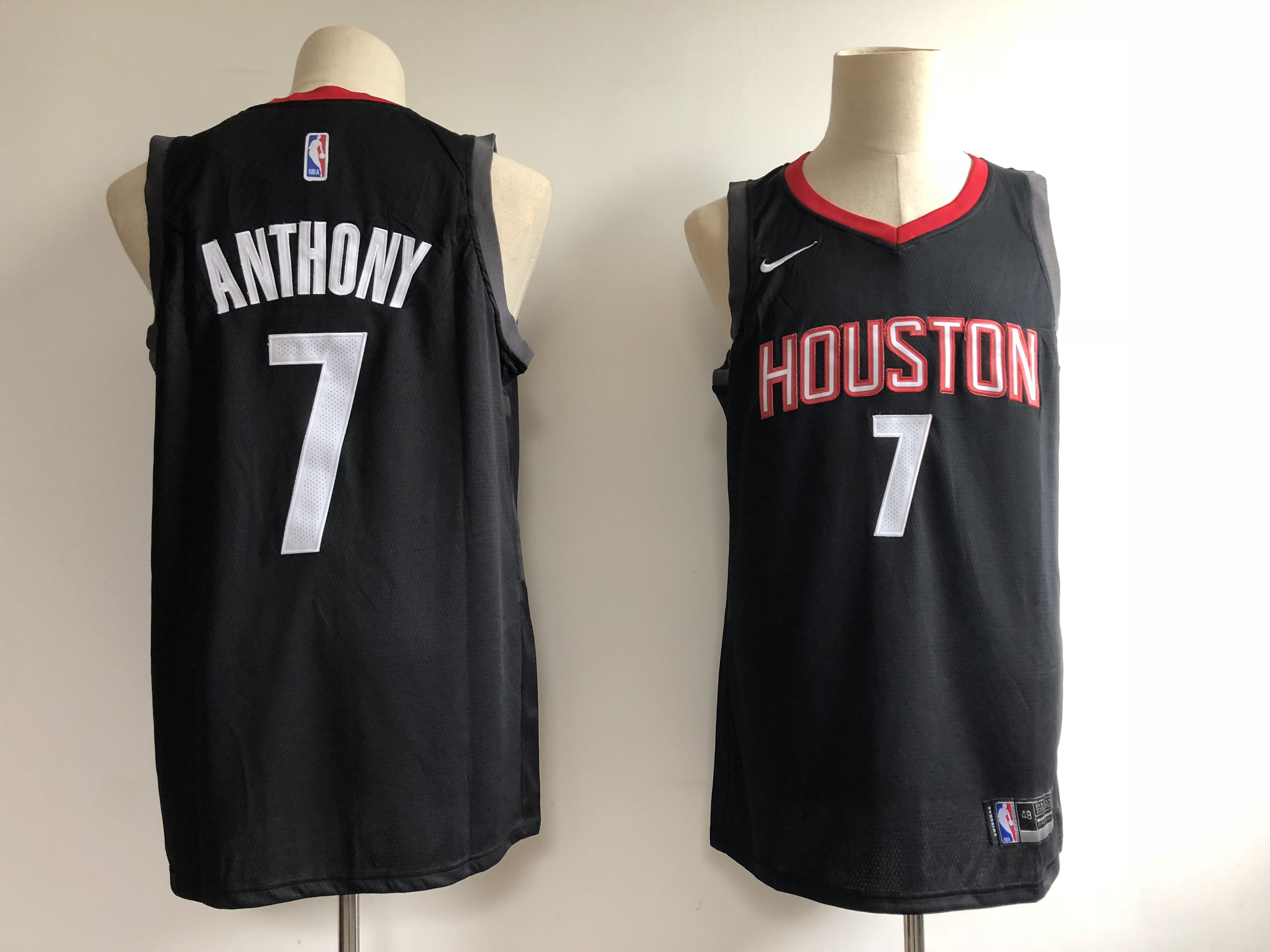 Men's Houston Rockets #7 Carmelo Anthony Black Swingman Stitched NBA Jersey