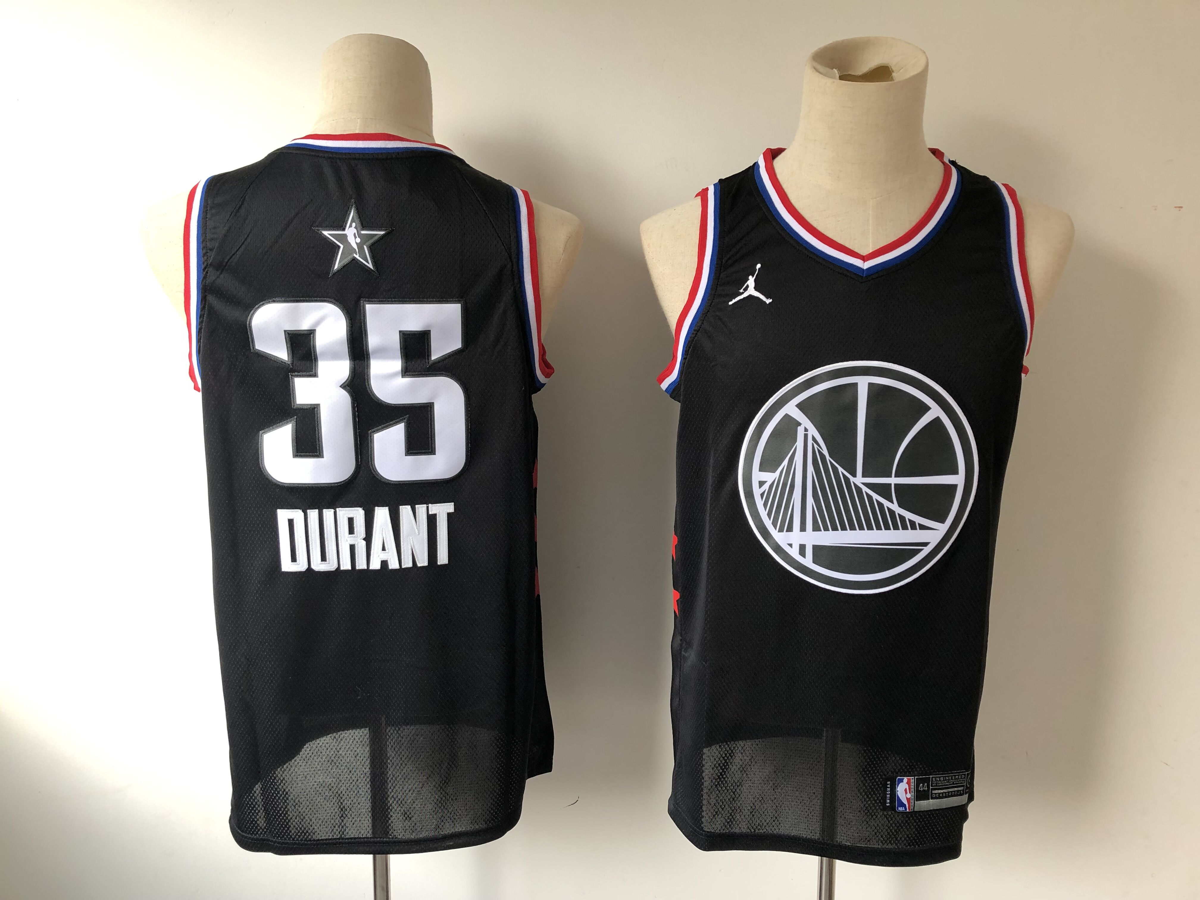 Men's Golden State Warriors #35 Kevin Durant Black 2019 NBA All Star Stitched NBA Jersey