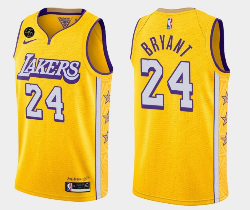 Men's Los Angeles Lakers #24 Kobe Bryant With Kobe Patch Gold Stitched Jersey