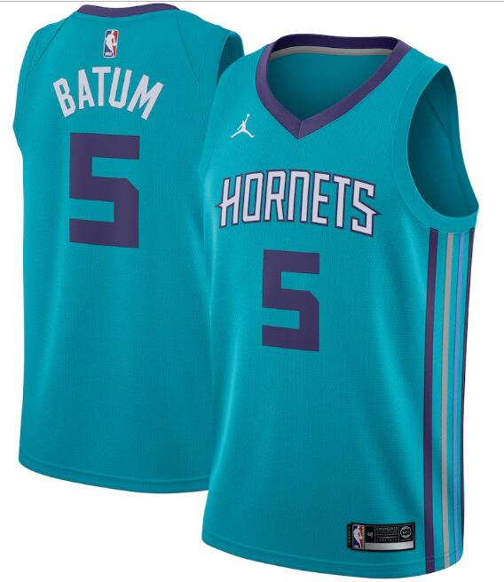 Men's Charlotte Hornets #5 Nicolas Batum Teal Icon Edition Swingman Stitched Jersey