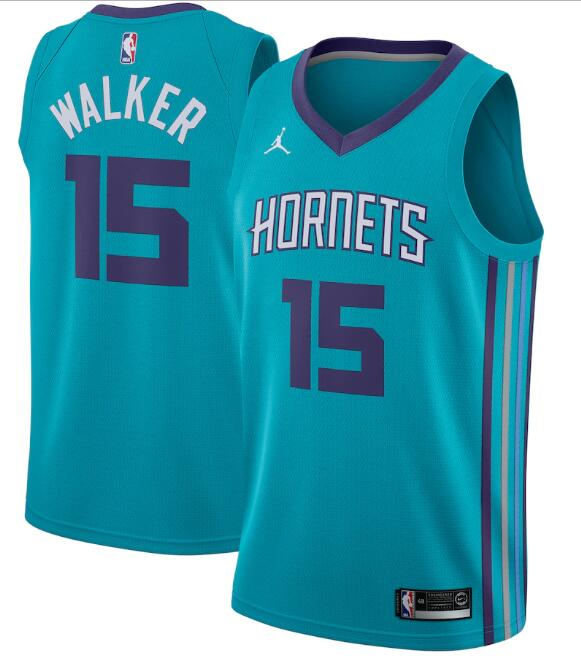 Men's Charlotte Hornets #15 Kemba Walker Teal Icon Edition Swingman Stitched Jersey