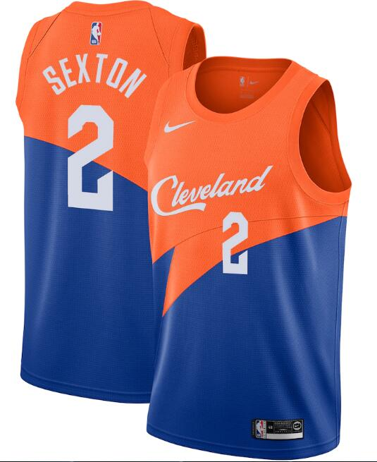 Men's Cleveland Cavaliers #2 Collin Sexton Orange &Blue City Edition Stitched NBA Jersey