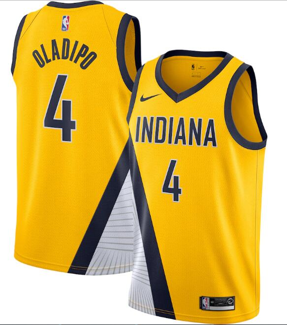 Men's Indiana Pacers #4 Victor Oladipo Yellow Statement Edition Swingman Stitched Jersey