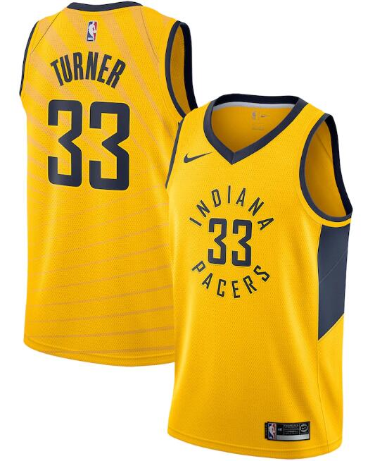 Men's Indiana Pacers #33 Myles Turner Yellow Statement Edition Swingman Stitched Jersey