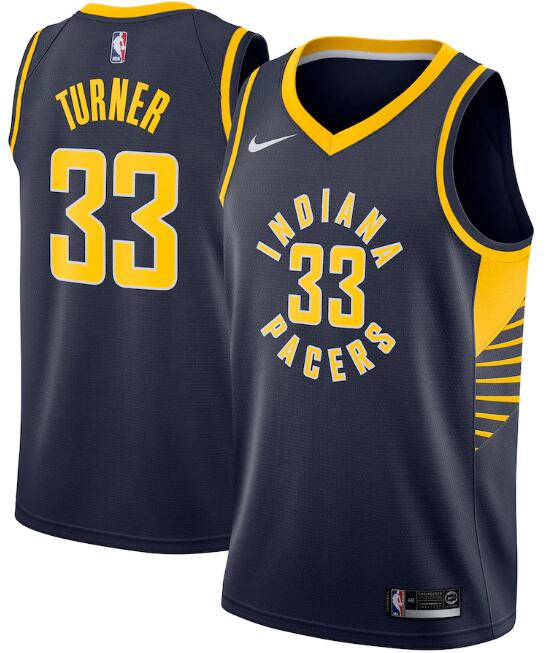 Men's Indiana Pacers #33 Myles Turner Navy Icon Edition Swingman Stitched Jersey