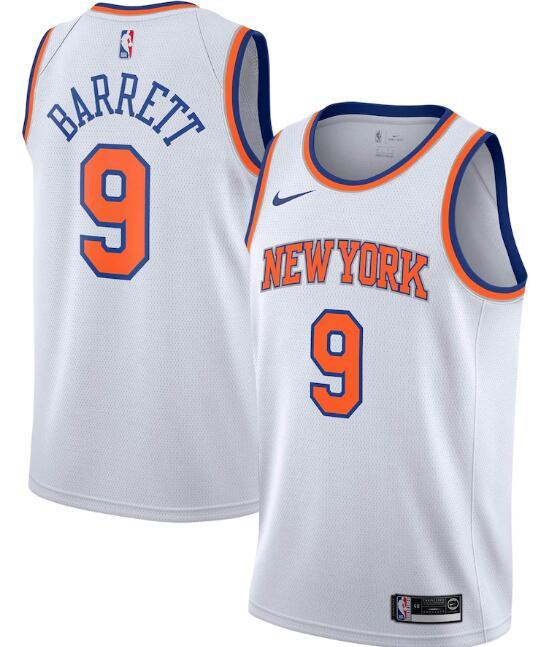 New Yok Knicks #9 R.J. Barrett White Stitched Swingman Jersey