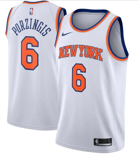 New Yok Knicks #6 Kristaps Porzingis White Association Edition Stitched Swingman Jersey