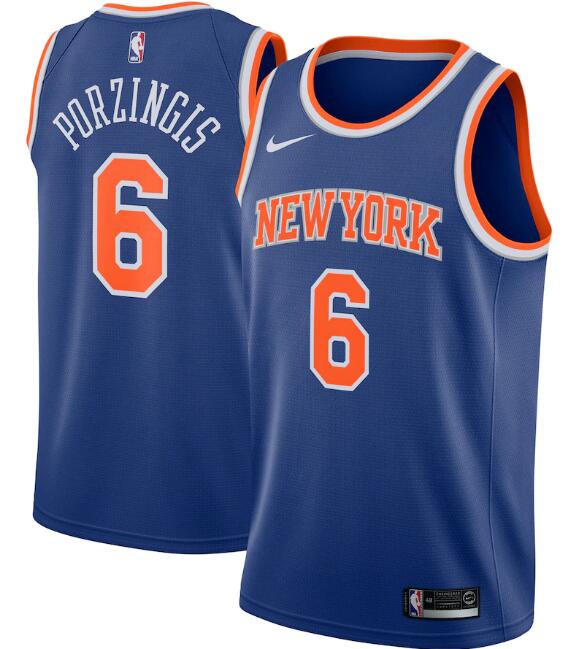 New Yok Knicks #6 Kristaps Porzingis Blue Icon Edition Stitched Swingman Jersey