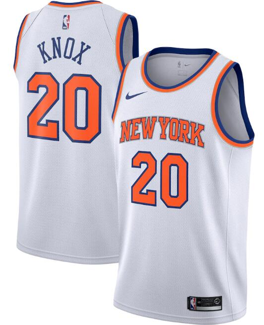 New Yok Knicks #20 Kevin Knox White Association Edition Stitched Swingman Jersey