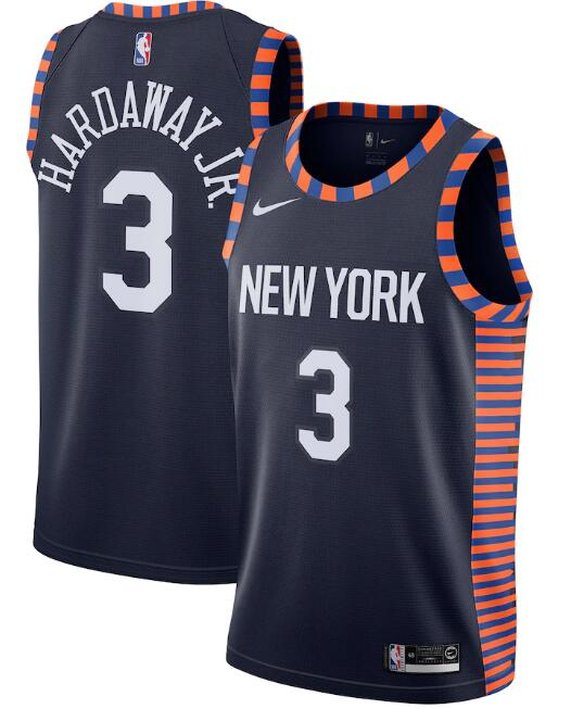 New Yok Knicks #3 Maurice Harkless Navy City Edition Stitched Swingman Jersey
