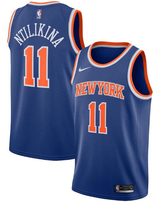 New Yok Knicks #11 Frank Ntilikina Blue Icon Edition Stitched Swingman Jersey