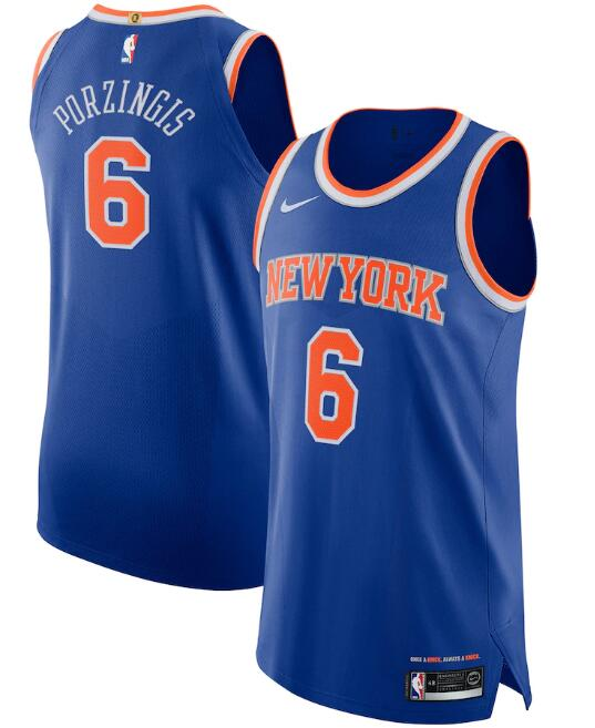 New Yok Knicks #6 Kristaps Porzingis Blue Icon Edition Stitched Jersey