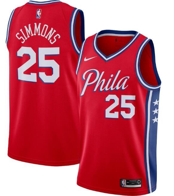 Men's Philadelphia 76ers #25 Ben Simmons Red Statement Edition Stitched Swingman Jersey