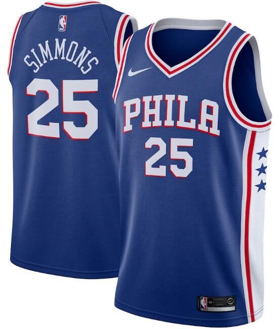 Men's Philadelphia 76ers #25 Ben Simmons Royal Icon Edition Stitched Swingman Jersey