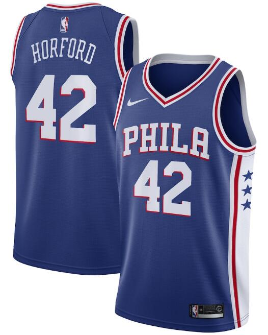 Men's Philadelphia 76ers #42 Al Horford Royal Icon Edition Stitched Swingman Jersey