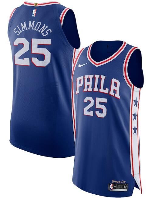 Men's Philadelphia 76ers #25 Ben Simmons Royal Icon Edition Stitched Jersey