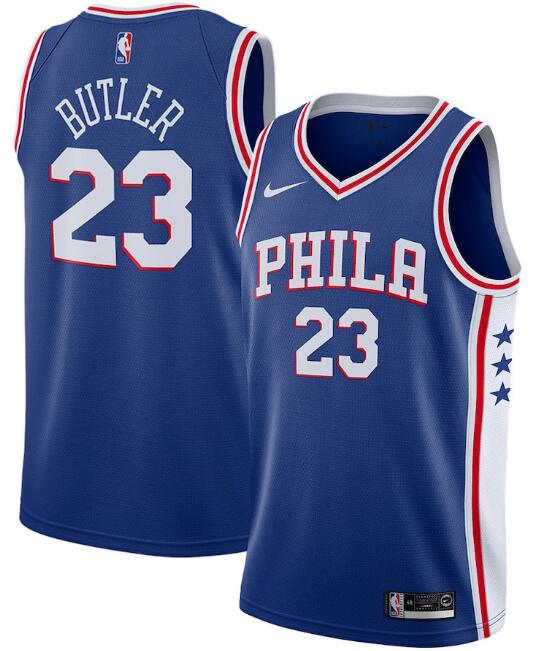 Men's Philadelphia 76ers #23 Jimmy Butler Royal Icon Edition Stitched Swingman Jersey