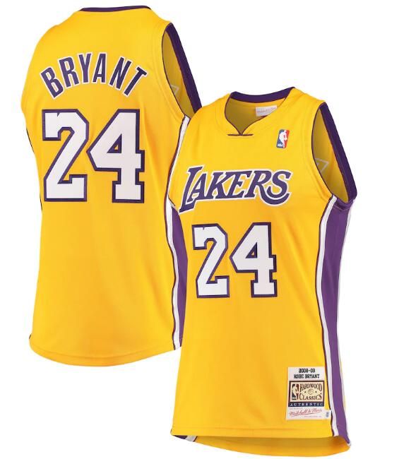 Men's Los Angeles Lakers #24 Kobe Bryant Mitchell & Ness Gold Hardwood Classics Stitched Jersey