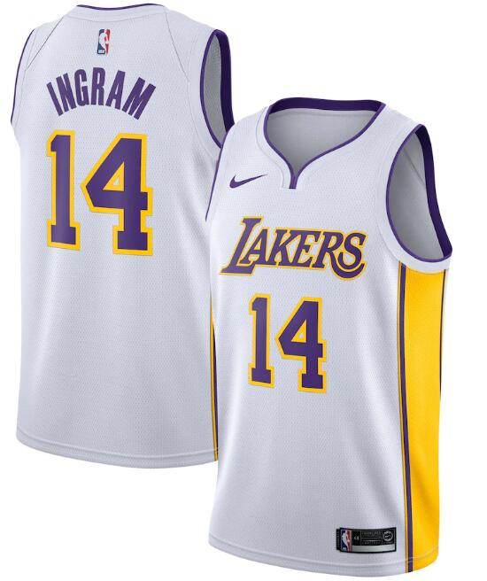 Men's Los Angeles Lakers #14 Brandon Ingram White Association Edition Stitched Jersey