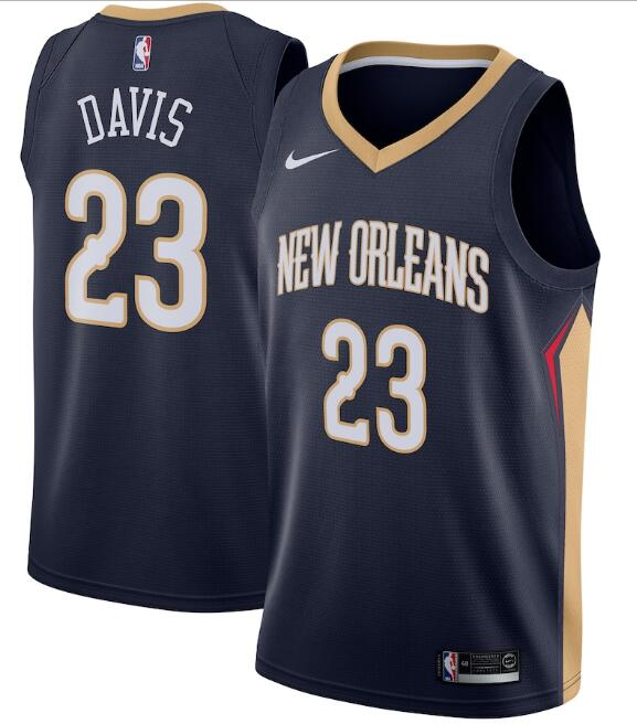 Men's New Orleans Pelicans #23 Anthony Davis Navy Icon Edition Stitched Jersey