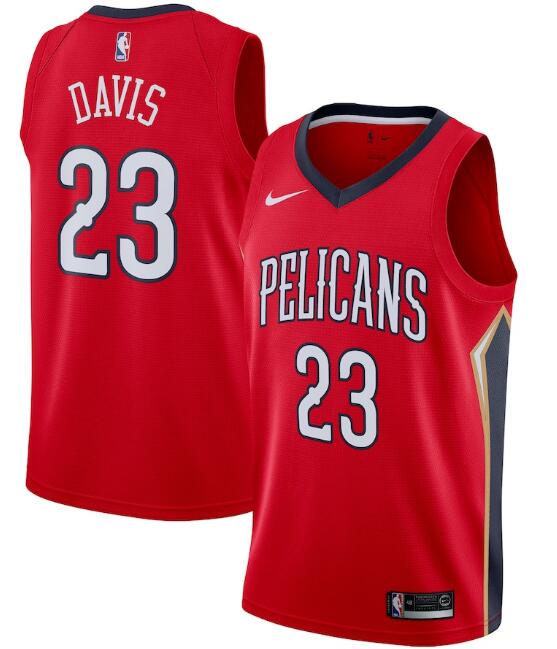Men's New Orleans Pelicans #23 Anthony Davis Red Statement Edition Stitched Jersey