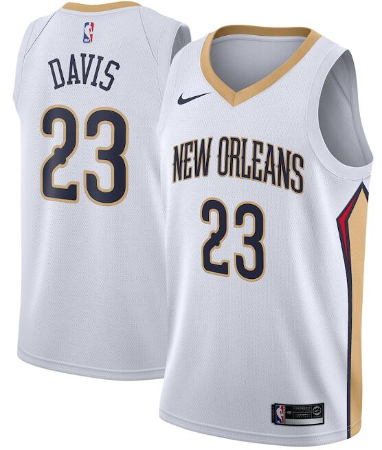 Men's New Orleans Pelicans #23 Anthony Davis White Association Edition Stitched Jersey