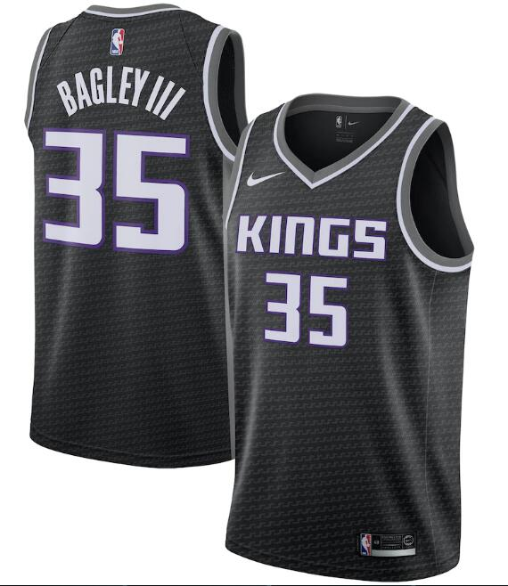 Men's Sacramento Kings #35 Marvin Bagley III Black Statement Editon Stitched Jersey